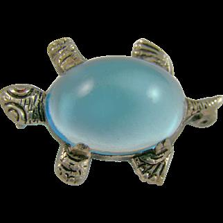 Figural Blue Lucite Turtle Brooch