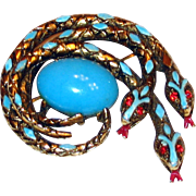 Art Serpent Brooch Turquoise Enamel in Burnished Gold Tone