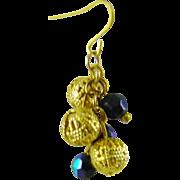 Hematite and Gold Tone Filigree Bead Earrings
