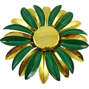 Gold Tone and Emerald Green Enamel Brooch