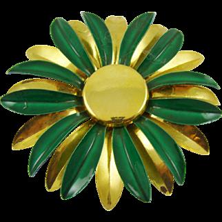 Gold Tone and Emerald Green Enamel Brooch