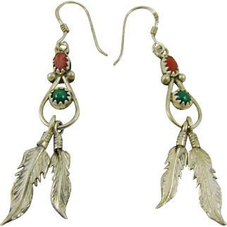 Turquoise and Sterling Feather Earrings