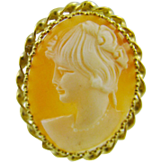 14Kt Gold Shell Cameo ~ Roman Goddess