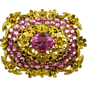 Art Nouveau Brooch with Rose Rhinestones