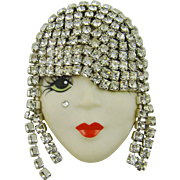 Stunning Hand Painted Porcelain Flapper Brooch