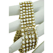 Art Deco Milk Glass and Rhinestone Bracelet