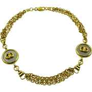 Triple Strand Gold Tone Necklace with Medallions