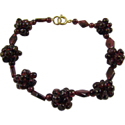 Beautiful Garnet Cluster Bead Bracelet