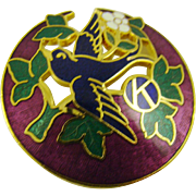 Bird and Floral Cloisonne Brooch