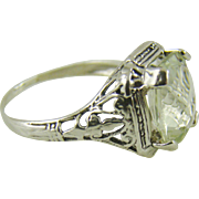 Art Deco Green Amethyst and Sterling Silver Ring