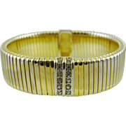 Monet Gold Tone Expansion Bracelet with Rhinestones