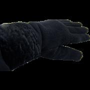 Warm Black Knit Gloves with Faux Fur Cuff