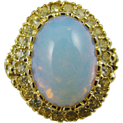 Faux Firey Opal and CZ 14KGP Ring