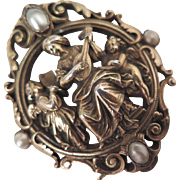 Antique Woman Playing Lute 900 Silver Baroque Pearl Brooch