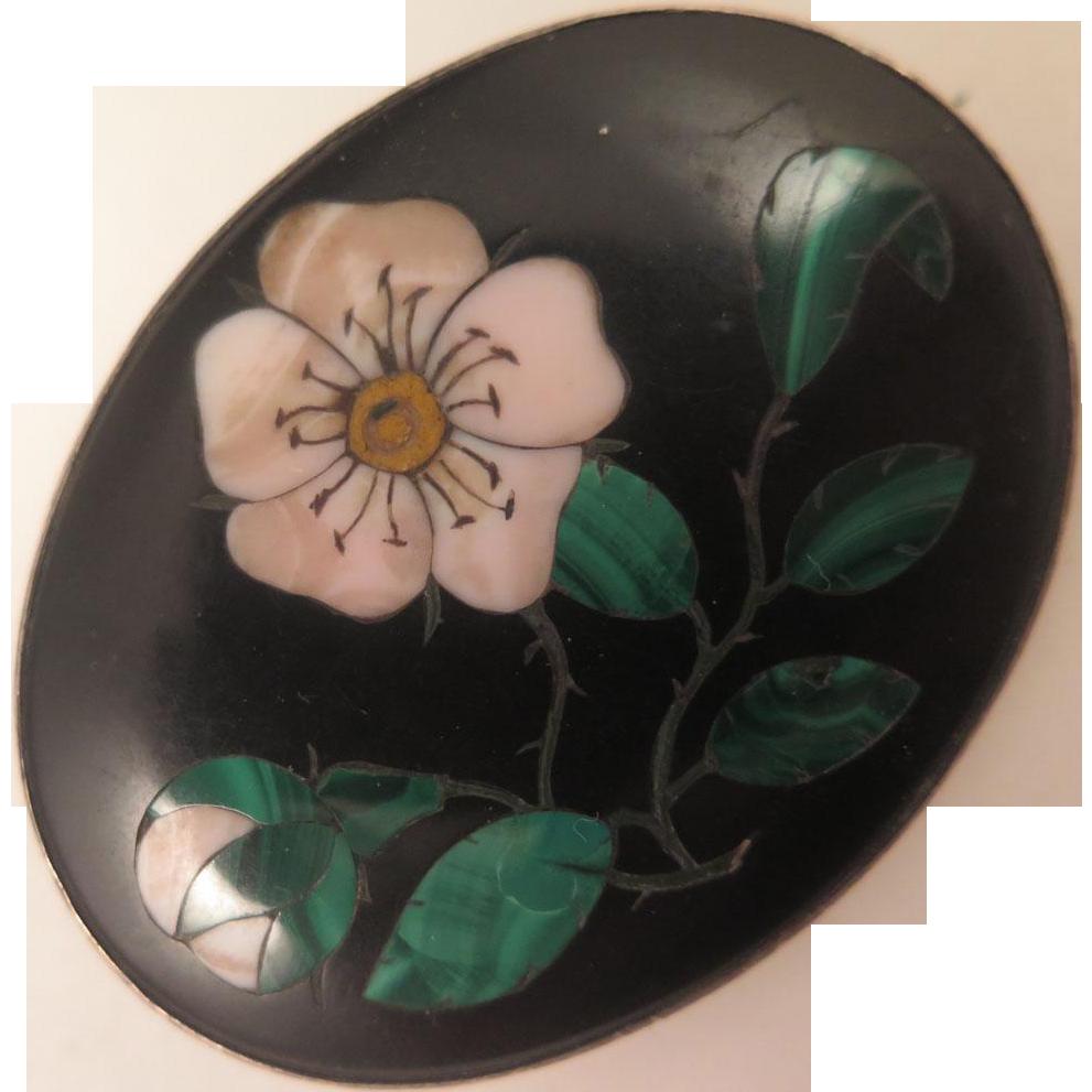 Antique Pietra Dura Cherry Blossom Brooch