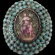 Georgian 900 Silver Turquoise Enamel Locket Brooch