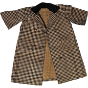 Early 1900s Black and Tan Check Doll Coat for 22 to 24 inch