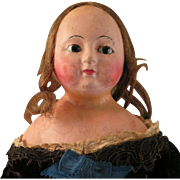Early English Wax Over Papier Mache Doll All Original 16 inch