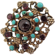 Victorian Austro Hungarian 800 Silver Garnet Turquoise Brooch