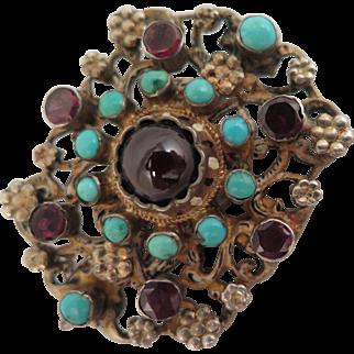 Victorian Austro Hungarian 800 Silver Garnet Turquoise Brooch