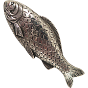 Fish Brooch 1882 Birmingham Sterling Silver