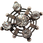 Georgian Paste Sterling Silver Target Brooch