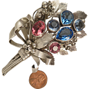 1940s Hobe Sterling Silver Flower Bouquet Brooch