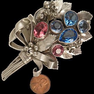 1940s Hobe Sterling Silver Flower Bouquet Brooch