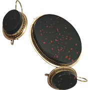 Victorian Bloodstone Earrings and Brooch Set