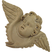 Victorian Lava Cameo Cupid Angel Brooch