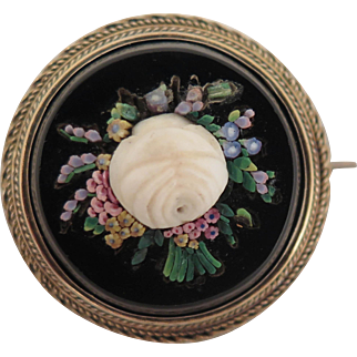 Antique Micro Mosaic Rose Brooch