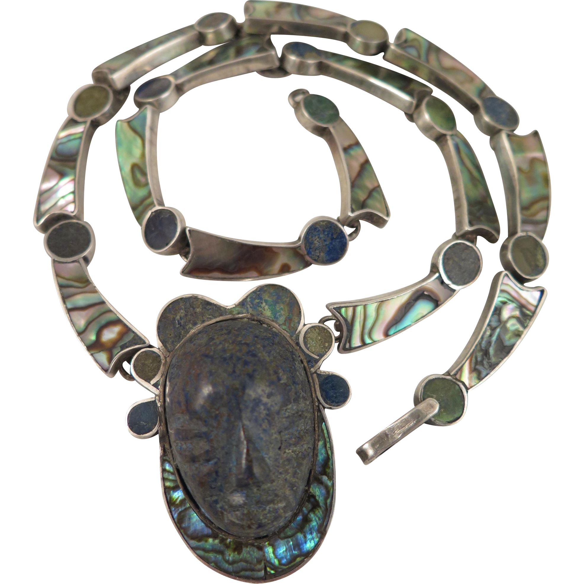 Taxco Lapis Abalone Necklace Vintage Mexico Sterling Silver