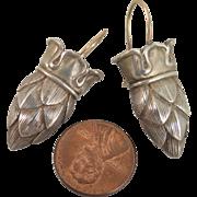 Antique Pinecone Crown Earrings Sterling Silver Pierced