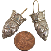 Vintage Pinecone Crown Earrings Sterling Silver Pierced