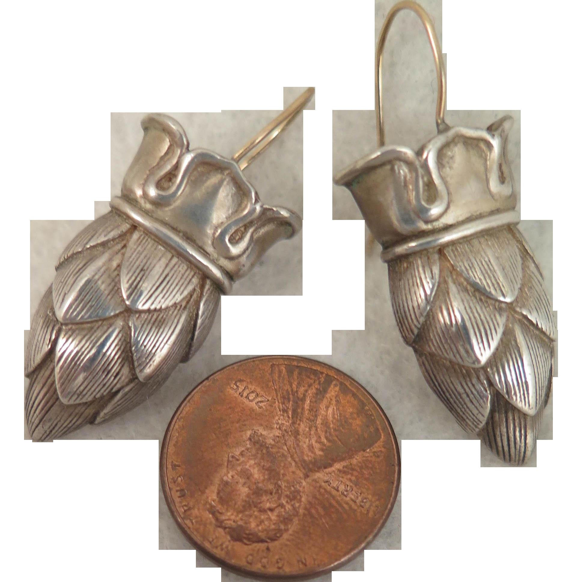 Vintage Pinecone Crown Earrings Sterling Silver Pierced