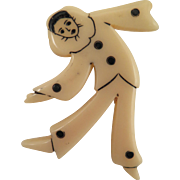 Vintage Celluloid Pierrot Clown Brooch