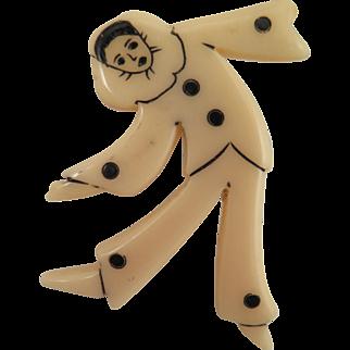 Vintage Celluloid Pierrot Clown Brooch