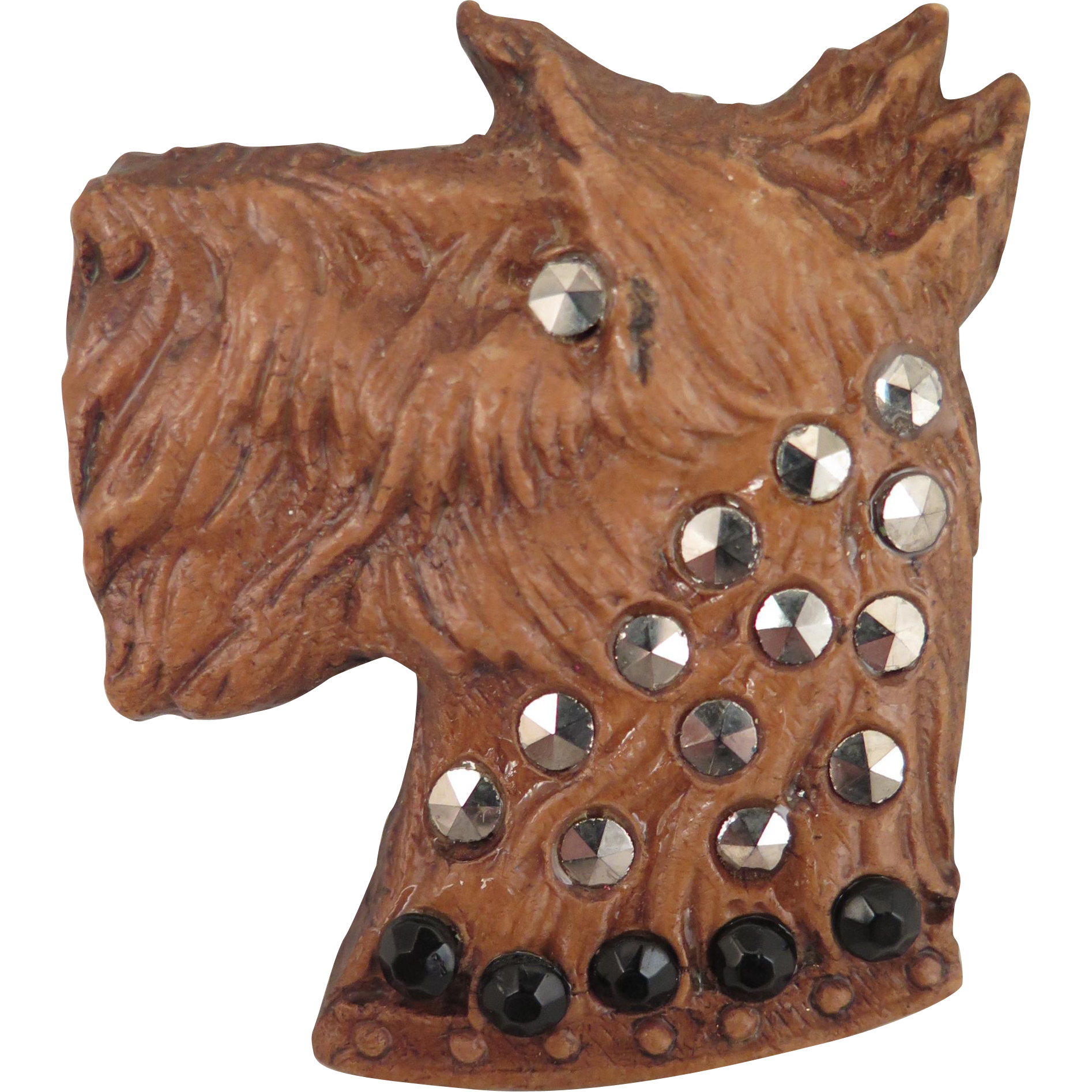 Vintage Scotty Dog Brooch with Marcasites