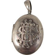 Antique Sterling Silver Locket AEI Eternal Love