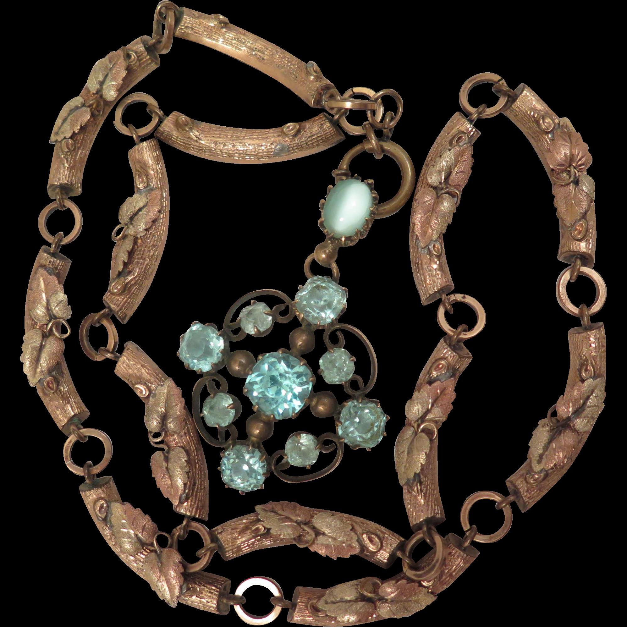 Victorian Fancy Necklace Chain with Blue Paste Pendant