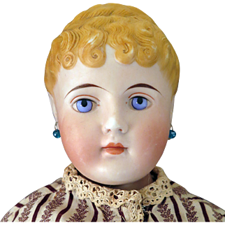 1870s -80s Parian Bisque C.F. Kling Girl with Braided Bun Doll 26 inches