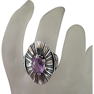 Vintage Sterling Silver Amethyst Ring Size 8.25