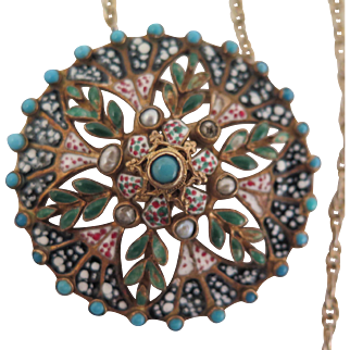 Antique Austro Hungarian 800 Silver Enameled Pendant Brooch