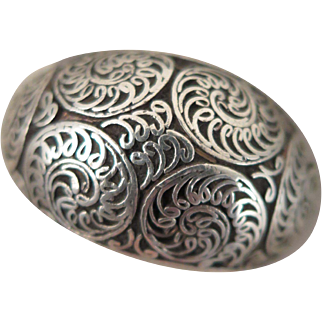 Antique Sterling Silver Filigree Ring Size 9.5