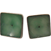 Antique Jade Sterling Silver Earrings