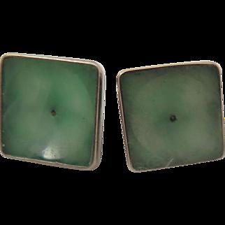 Antique Jade Sterling Silver Earrings