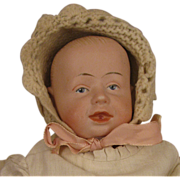 16 inch c.1910 German Bisque Gebr. Knoch model 205 Character Doll with open closed mouth