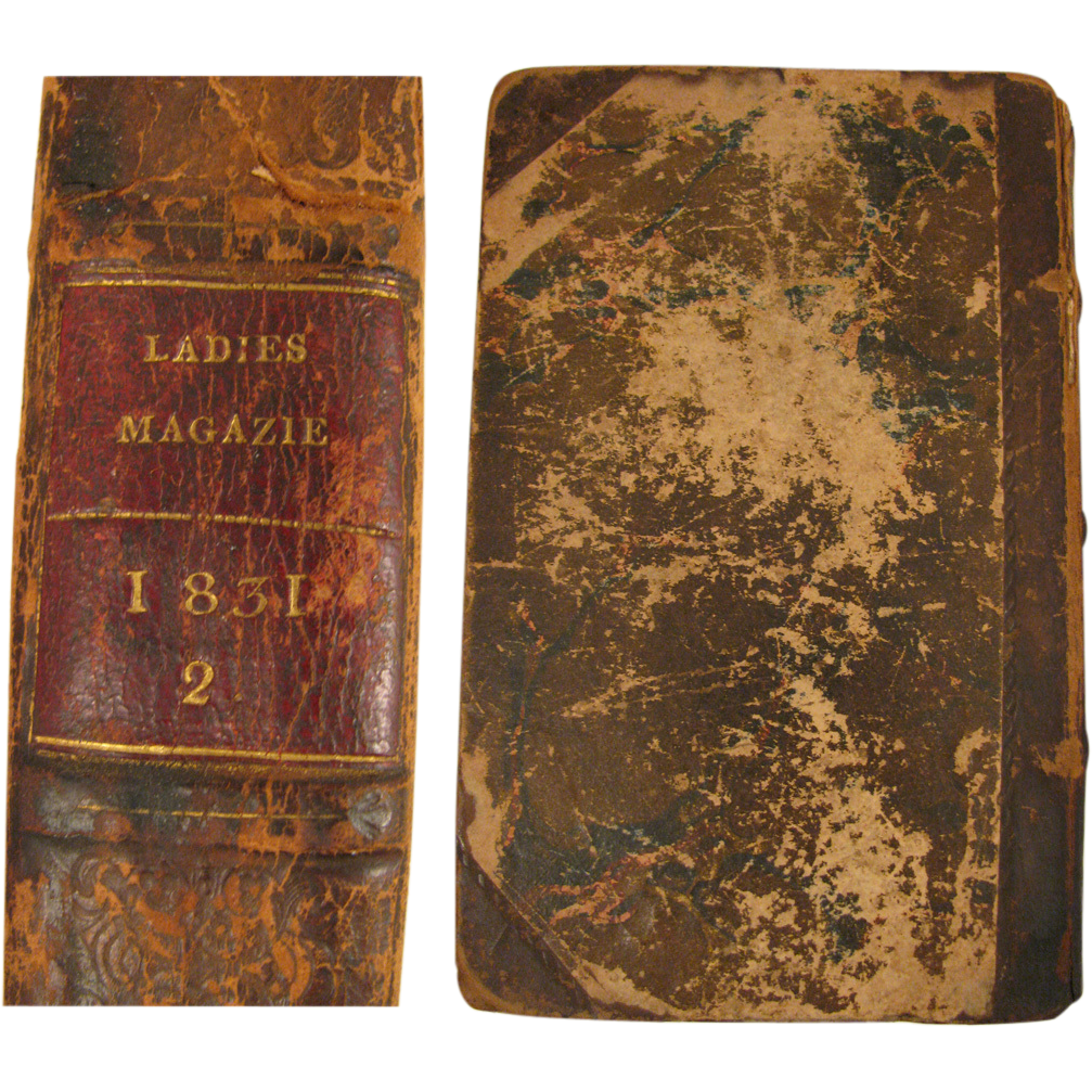 1831 book The Ladies' Pocket Magazine Vol. 2 with 12 Color Fashion Plates
