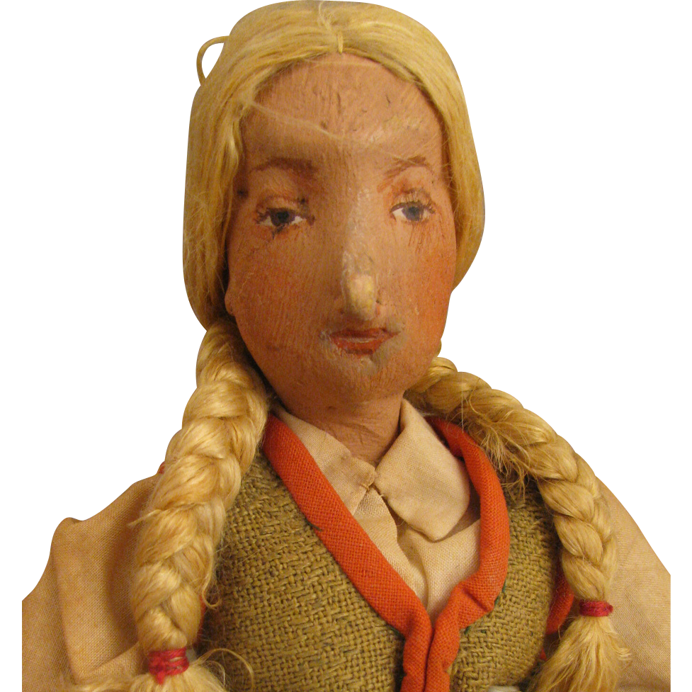 12 inch Early 1900s Painted Cloth European Doll