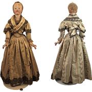 Antique Italian Terra Cotta & Wood Church Creche Lady Doll Figure